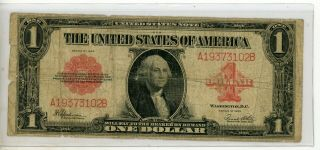 $1 1923 United States Note Legal Tender Red Seal 3102