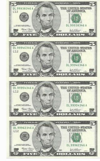 2003 $5 Frn Uncut Sheet Of 4 San Francisco District Notes Ending Serial 346a