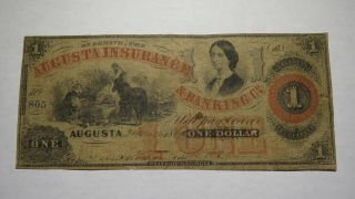 $1 1860 Augusta Georgia Ga Obsolete Currency Bank Note Bill Insurance Bank Co.