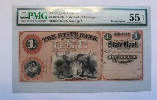1859 - 1860s State Bank Of Michigan $1 Obsolete Note - Detroit Michigan