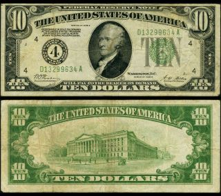 Fr.  2001 D $10 1928 - A Federal Reserve Note Cleveland Fine,