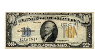 1934 - A $10 Silver Certificate Yellow Seal Note North African Issue