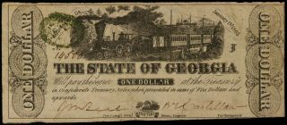 1863 State Of Georgia $1 - Cr.  12 - Holes