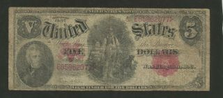 Fr.  88 Five Dollars ($5) Series Of 1907 United States Note - Legal Tender