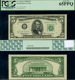 Fr.  1965 G $5 1950 - D Federal Reserve Note Chicago G - E Block Gem Pcgs Cu65 Ppq