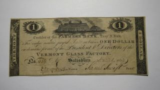 $1 1813 Salisbury Vermont Vt Obsolete Currency Bank Note Bill Vt Glass Factory