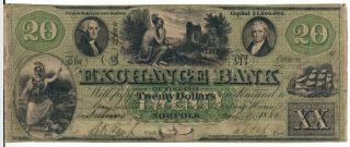 The Exchange Bank Of Virginia At Salem - $20.  00 Note - 1860