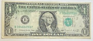 1988 $1 Error Federal Reserve Currency Note Partial Back Print On Front