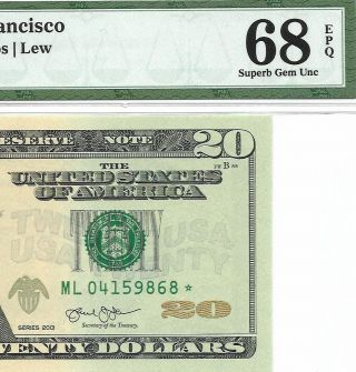2013 $20 San Francisco Star ⭐️ Frn Pmg Gem Uncirculated 68 Epq Banknote 1