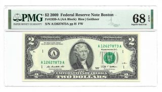 2009 $2 Boston Frn,  Pmg Gem Uncirculated 68 Epq Banknote