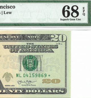 2013 $20 San Francisco Star ⭐️ Frn Pmg Gem Uncirculated 68 Epq Banknote 2
