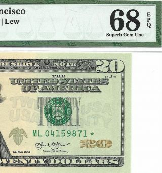 2013 $20 San Francisco Star ⭐️ Frn Pmg Gem Uncirculated 68 Epq Banknote 4