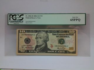 $10 Federal Reserve Note Pcgs 65ppq,  Ib 00000394 C / Very Low Serial Number