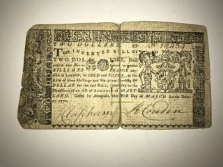 1770 Annapolis Maryland Two Dollars Colonial Continental Currency $2 Note