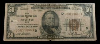 1929 Cleveland Ohio $50 Federal Reserve Bank Note D00279666a