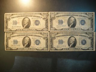 Four (4) 1934 United States $10 Silver Certificates.  Very Good To Fine.