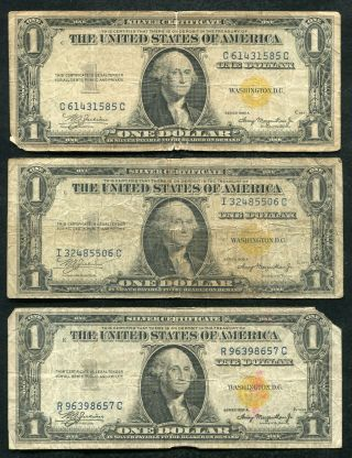 "(3) 1935 - A $1 One Dollar ""north Africa"" Silver Certificates (b)"
