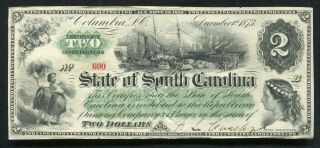 1873 $2 State Of South Carolina Columbia,  Sc Obsolete Banknote Au (b)