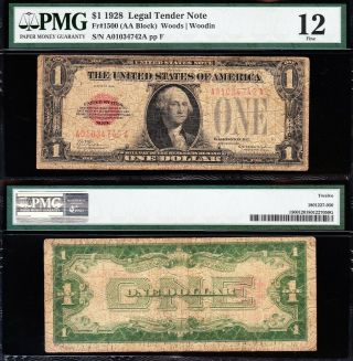 Scarce Fine 1928 $1 Red Seal Us Note Pmg 12 A01034742a