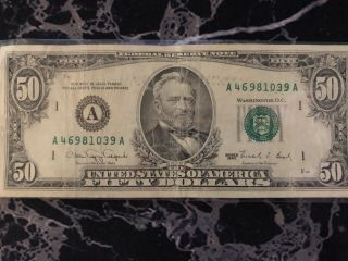 Old 50 Dollar Bill Series 1990 Federal Reserve Boston Ma Serial A46981039a