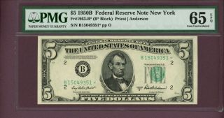 Fr.  1963 B $5 1950b Federal Reserve York Pmg 65 Epq Star