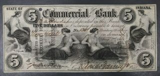 1858 Usa $5 Five Dollars Terre Haute Indiana Commercial Bank Note Redeemed Iowa