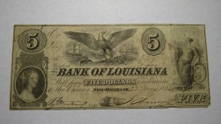 $5 1862 Orleans Louisiana La Obsolete Currency Bank Note Bill Bank Of La