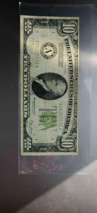 1928 B $10 Federal Reserve Note Boston - Redeemable In Gold On Demand