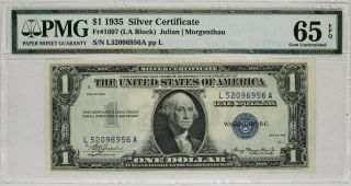 1935 $1 Silver Certificate Note Currency La Block Fr.  1607 Pmg Cu 65 Epq (956a)