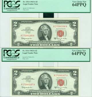 1963a $2 Pcgs 64ppq Very Choice 3 Consecutive Notes 1 Note Per Order