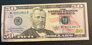 $50 Dollar Bill Star Note - Low Serial Number 00013841 - 2013