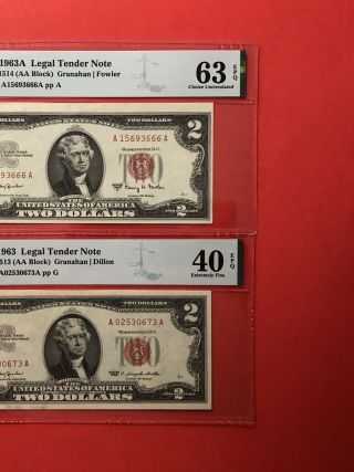 1963a & 1963 - $2 Red Seal Notes,  Graded By Pmg,  Ex.  Fine 40 & Choice Unc 63 Epq.