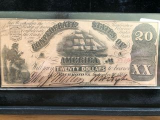 Confederate Currency 1861 Twenty Dollar T - 18