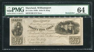 1840's 25 Cents John H.  King Williamsport,  Md Obsolete Remainder Pmg Unc - 64 (h)
