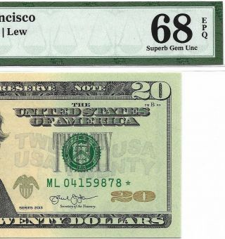 2013 $20 San Francisco Star ⭐️ Frn Pmg Gem Uncirculated 68 Epq Banknote