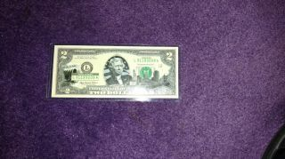 2003 A $2 Dollar Bill Federal Reserve Note Uncirculated.