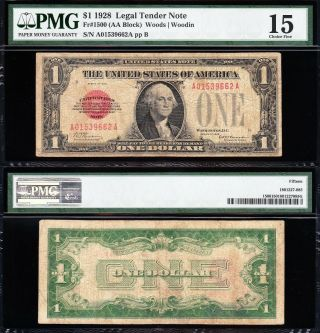 Scarce Choice Fine 1928 $1 Red Seal Us Note Pmg 15 A01539662a