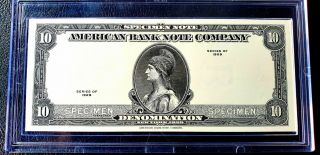 1929 American Banknote Co.  Specimen Note,  In Hard Snapcase,  Black W Blank Back