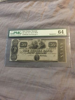 Pmg $50 Jersey Newton Sussex Bank 1830's - 50's 64 Obsolete Note Awesome