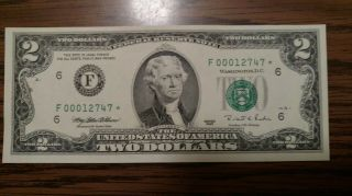 Fr - 1936f $2.  00 1995 Federal Reserve Note.  Star Crisp Low Serial Number.