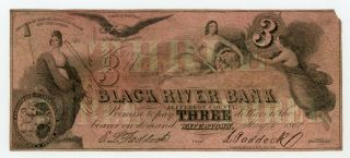 1862 $3 The Black River Bank - Watertown,  York (ctft. ) Note