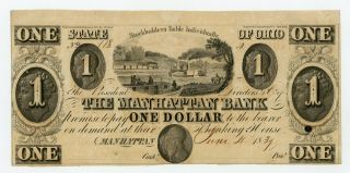 1839 $1 The Manhattan Bank - Manhattan,  Ohio Note