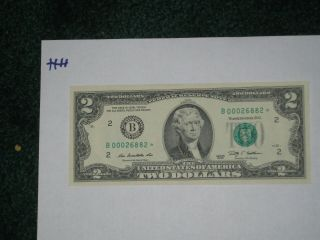 2009 $2 Star Note Rare,  128,  000 Printed,  Crisp Low Number