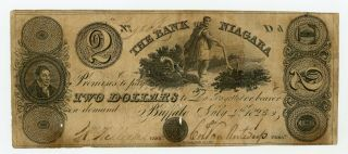 1827 $2 The Bank Of Niagara - Buffalo,  York (ctft. ) Note