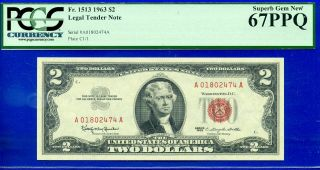 Fr - 1513 1963 $2 Us Note ( (grade Rarity))  Pcgs - Gem 67ppq A01802474a.