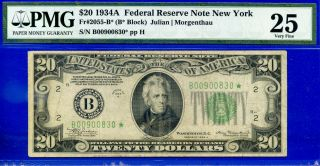 1934 - A $20 Frn ( (york - Star))  Pmg Very Fine 25 B00900830.