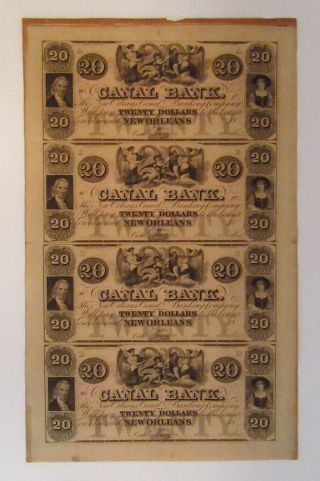 1800s Canal Bank Orleans $20 Obsolete Bank Notes,  Uncut Sheet Of 4 - Angels
