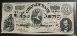 "T - 65 1864 $100 One Hundred Csa Confederate States Of America ""lucy Pickens"""