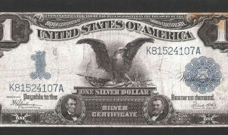 Black Eagle $1 1899 Silver Cert.  No Pinholes Or Tears