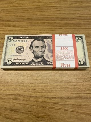 10 Five Dollar Bills $5 Paper Money $50 Bundle Stack Uncirculated